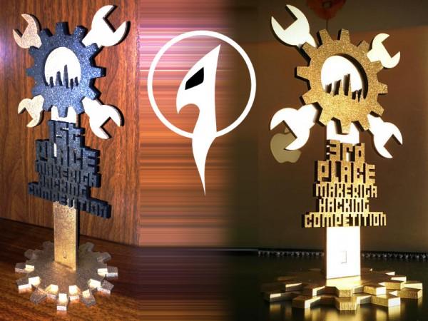 Trofejas par pirmo un trešo vietu MAKE RIGA hakošanas sacensībās